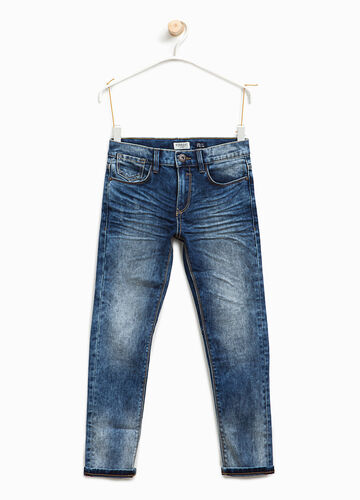 Straight-fit worn stretch jeans