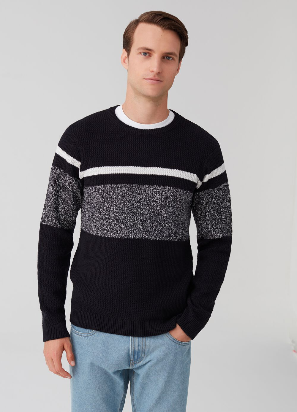 Cotton pullover with mélange insert