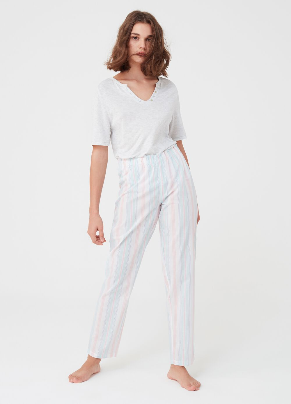 Striped pyjamas with T-shirt and trousers