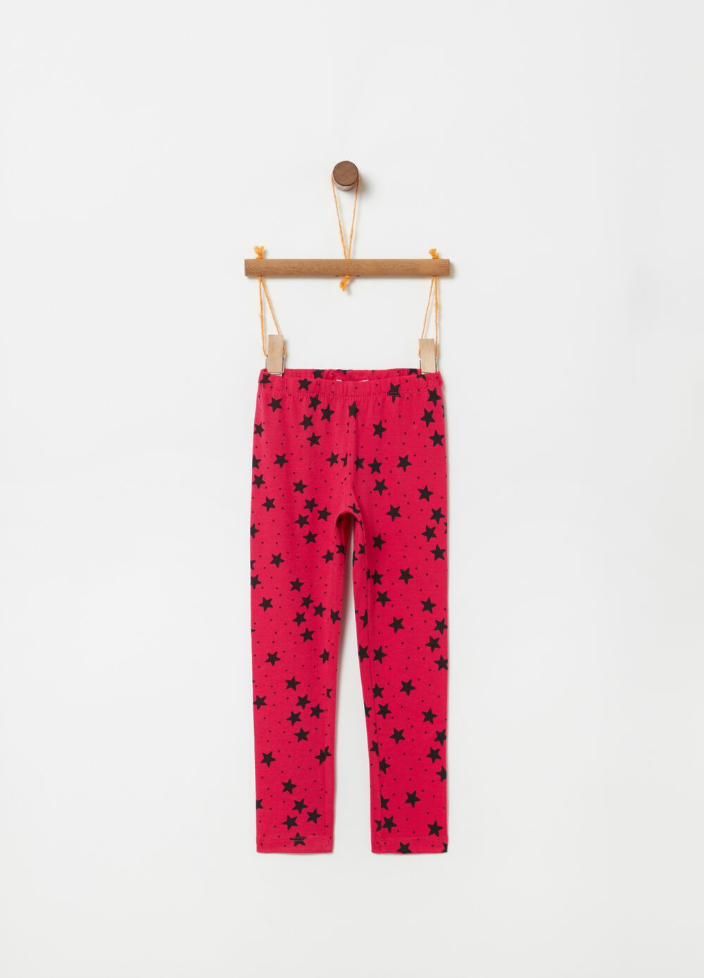 Leggings in stretch organic cotton with polka dots and stars