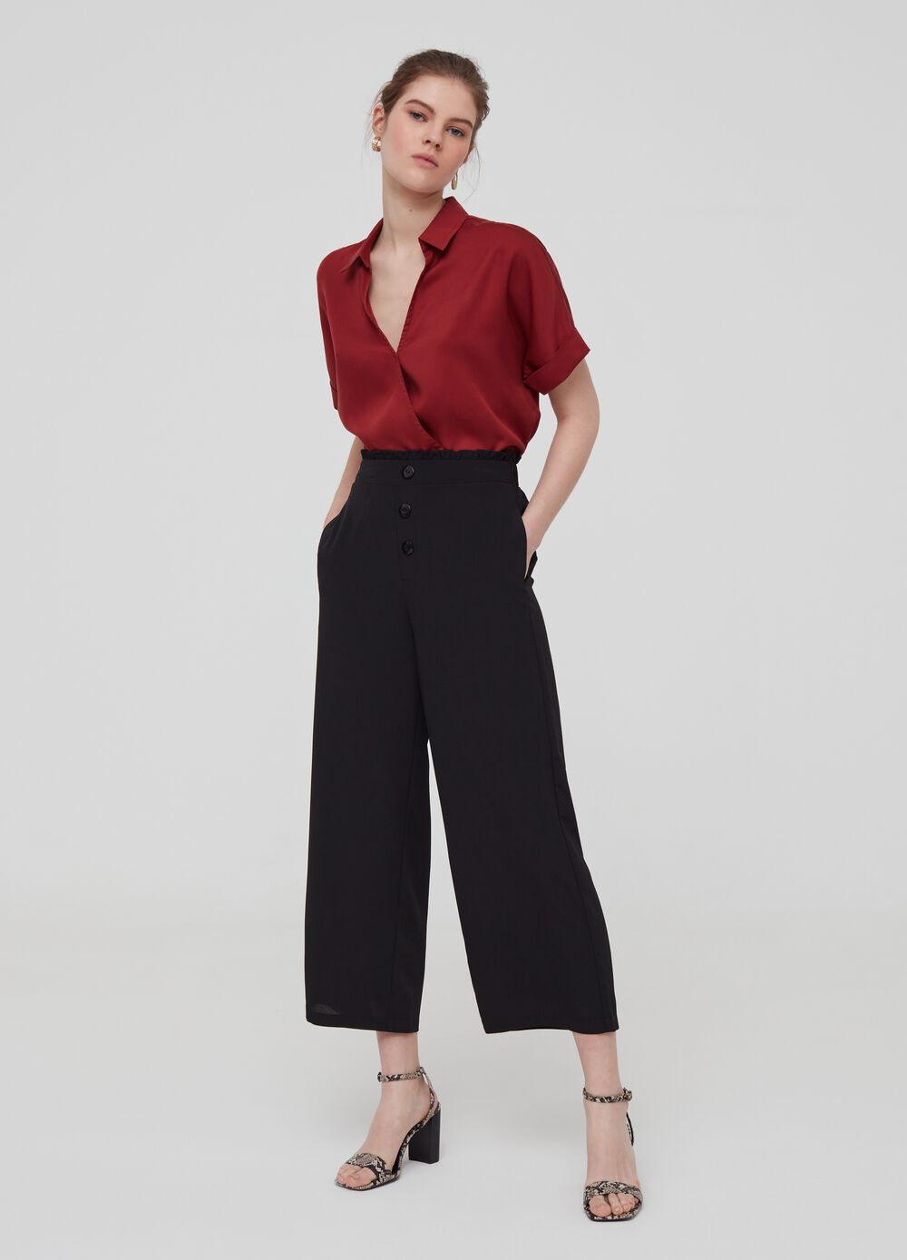 Flared trousers with high waist