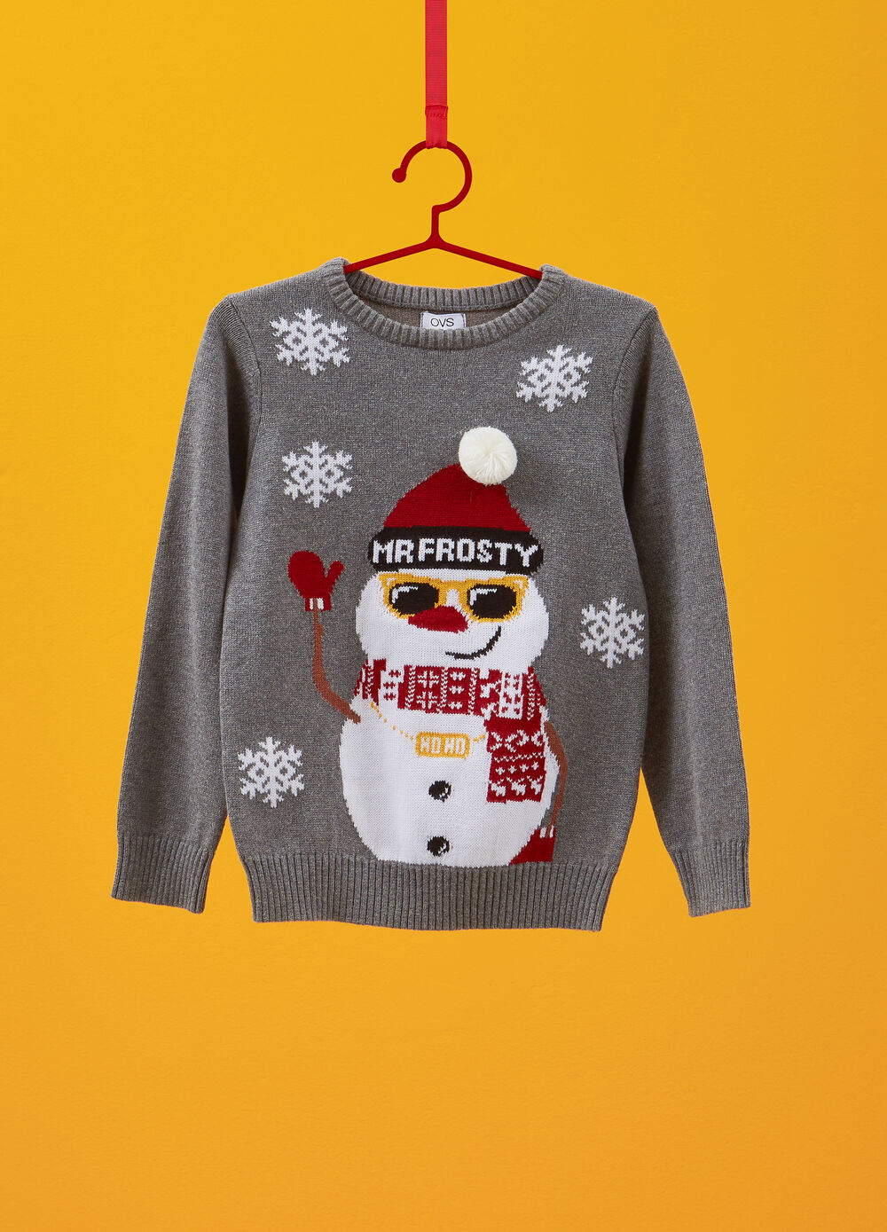 Christmas sweater with snowman embroidery