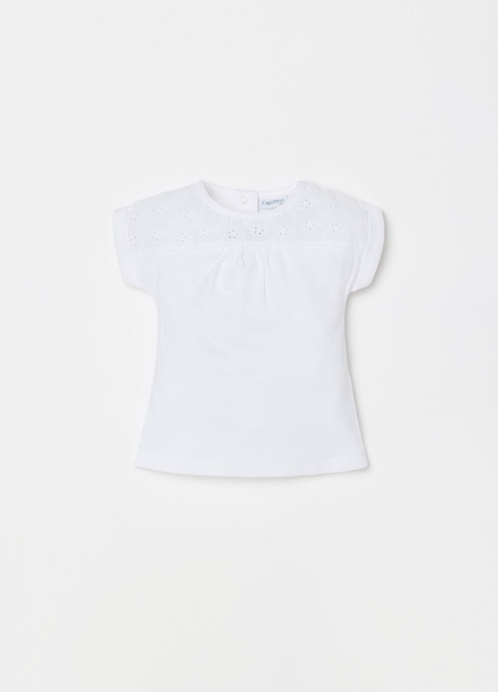 100% organic cotton T-shirt with broderie anglaise lace