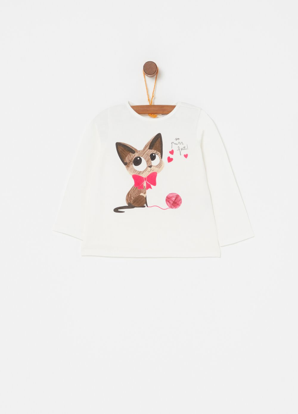 Biocotton T-shirt with kitten print