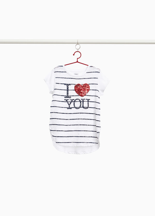100% cotton T-shirt with lace and striped print