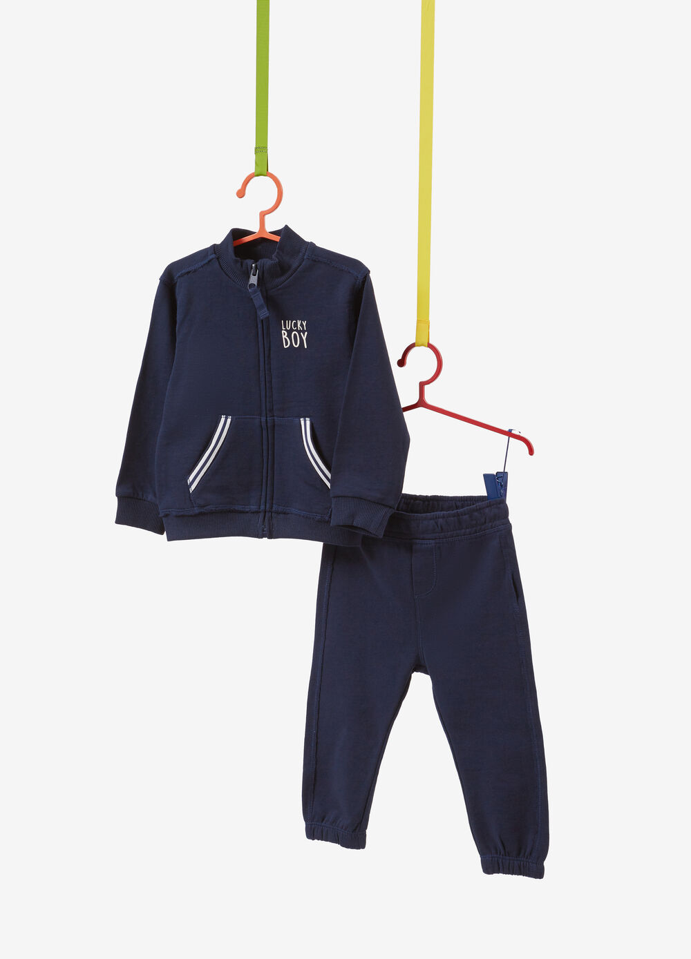 Solid colour tracksuit in 100% cotton