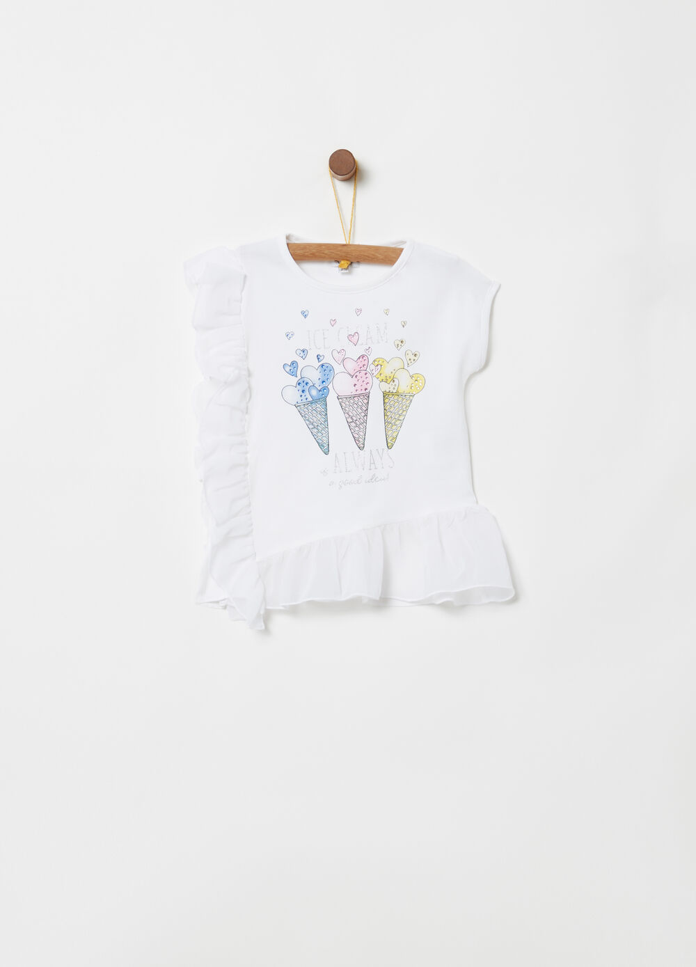 T-shirt with tulle frills and glitter print