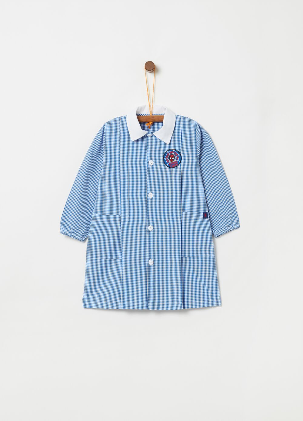 Spider-Man school smock with checked pattern