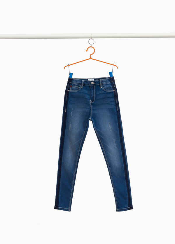 High-waisted stretch jeans with bands