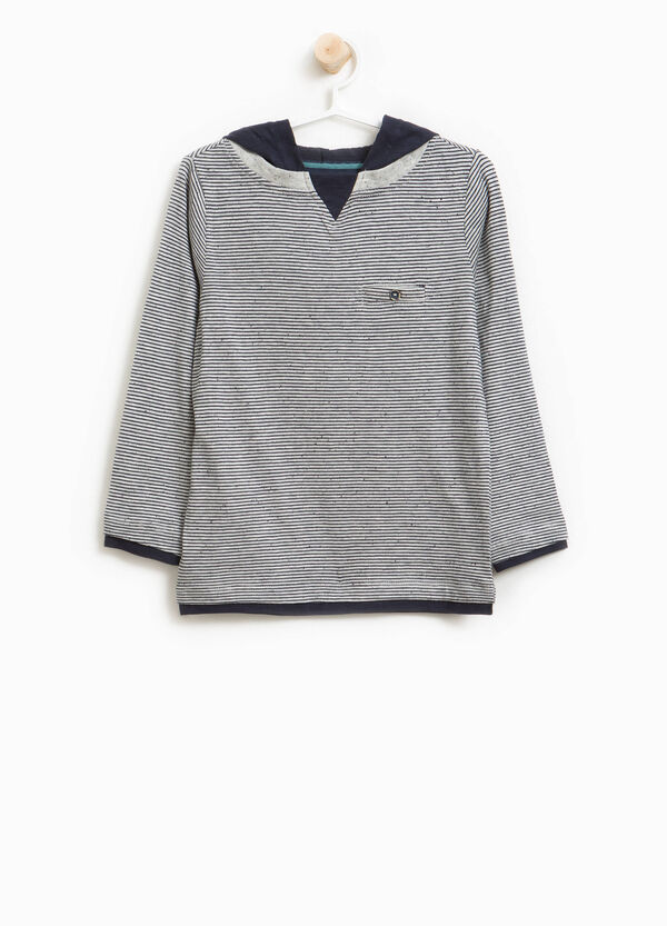 Cotton T-shirt with stripes and hood | OVS