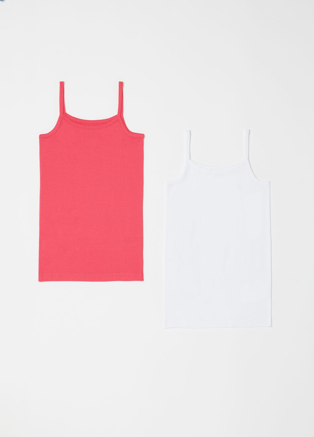 Set of two ribbed biocotton vests