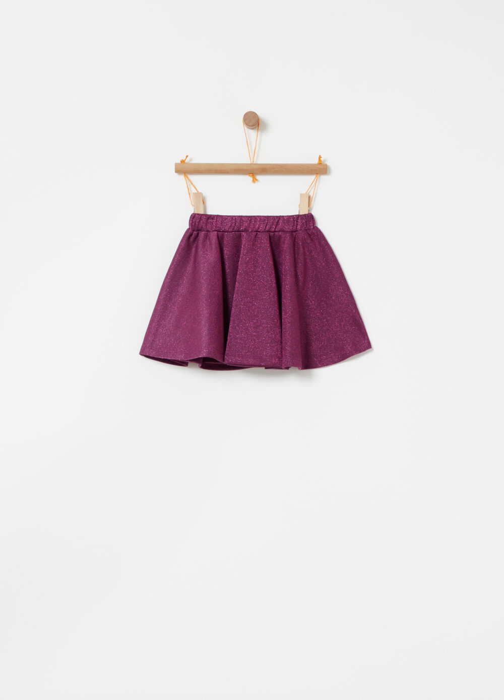 Fleece lurex skirt with elastic waist