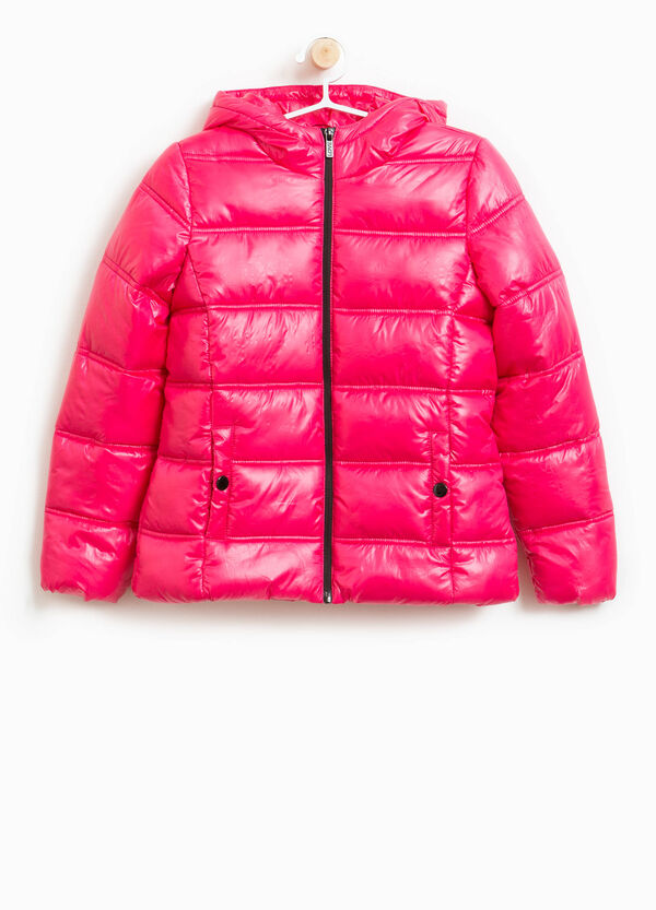 Shiny down jacket with hood and zip | OVS