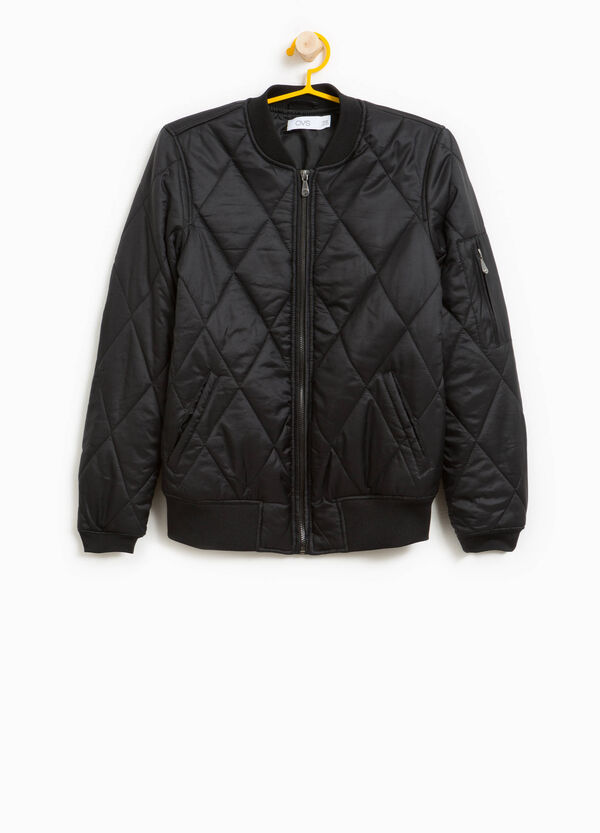 Quilted bomber jacket with zip