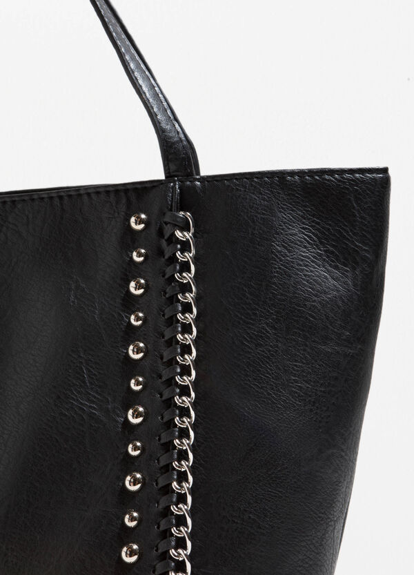 Textured-effect handbag with studs | OVS