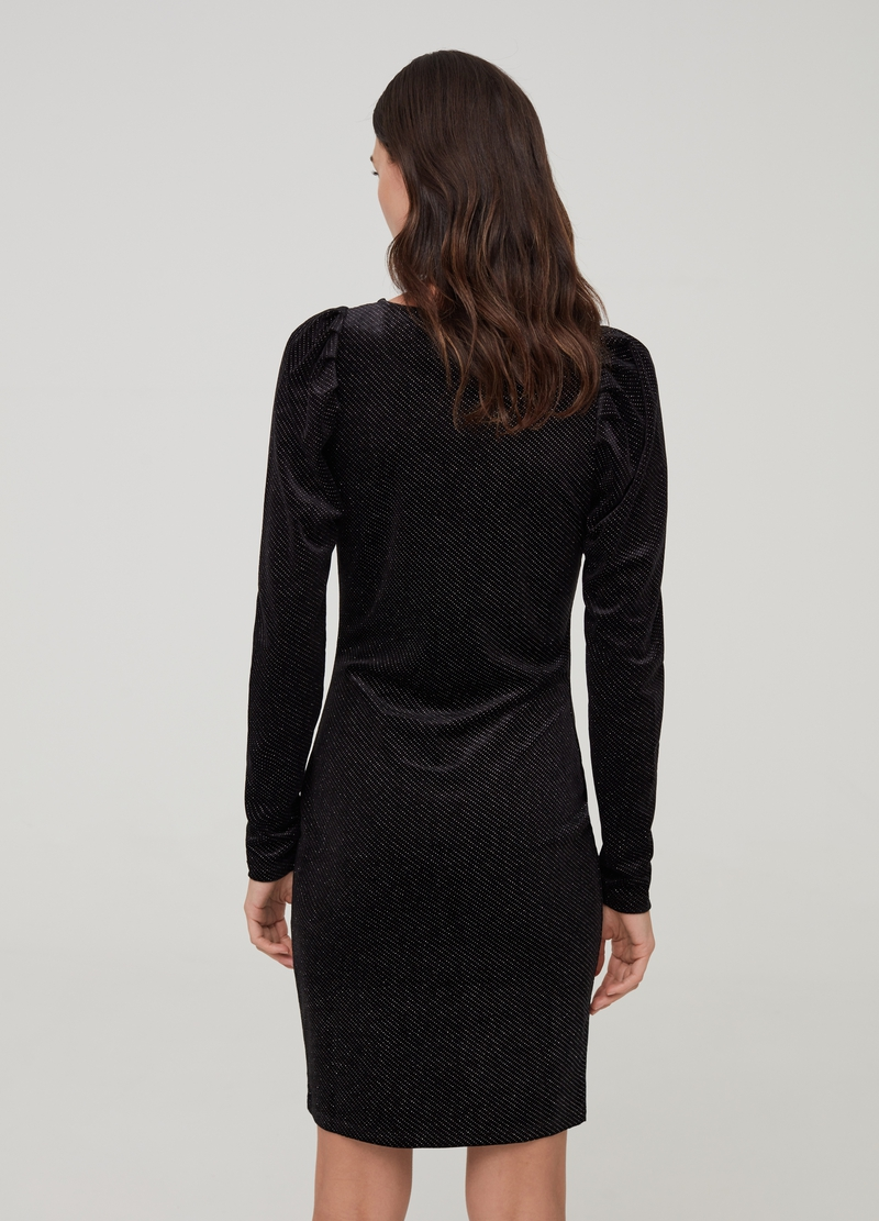 Velvet and lurex dress with puff sleeves image number null