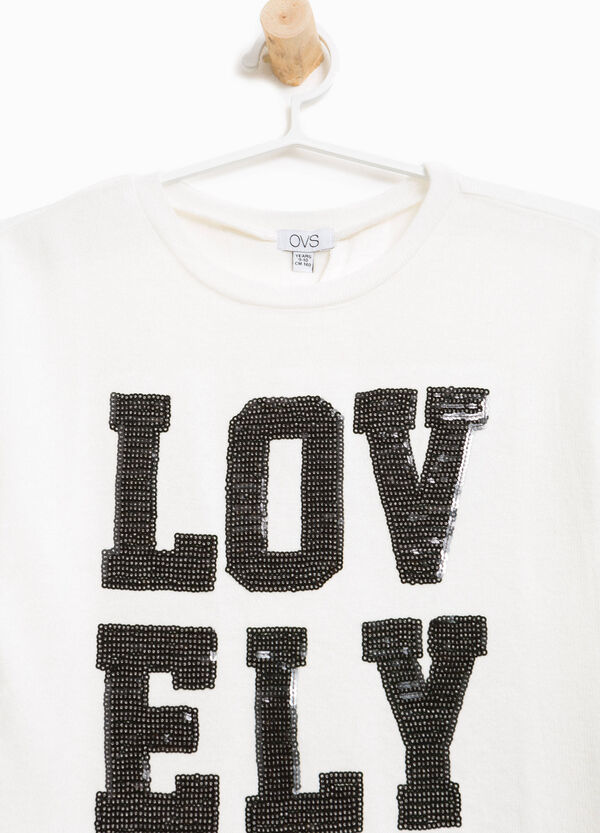 T-shirt in stretch viscose with diamanté lettering | OVS