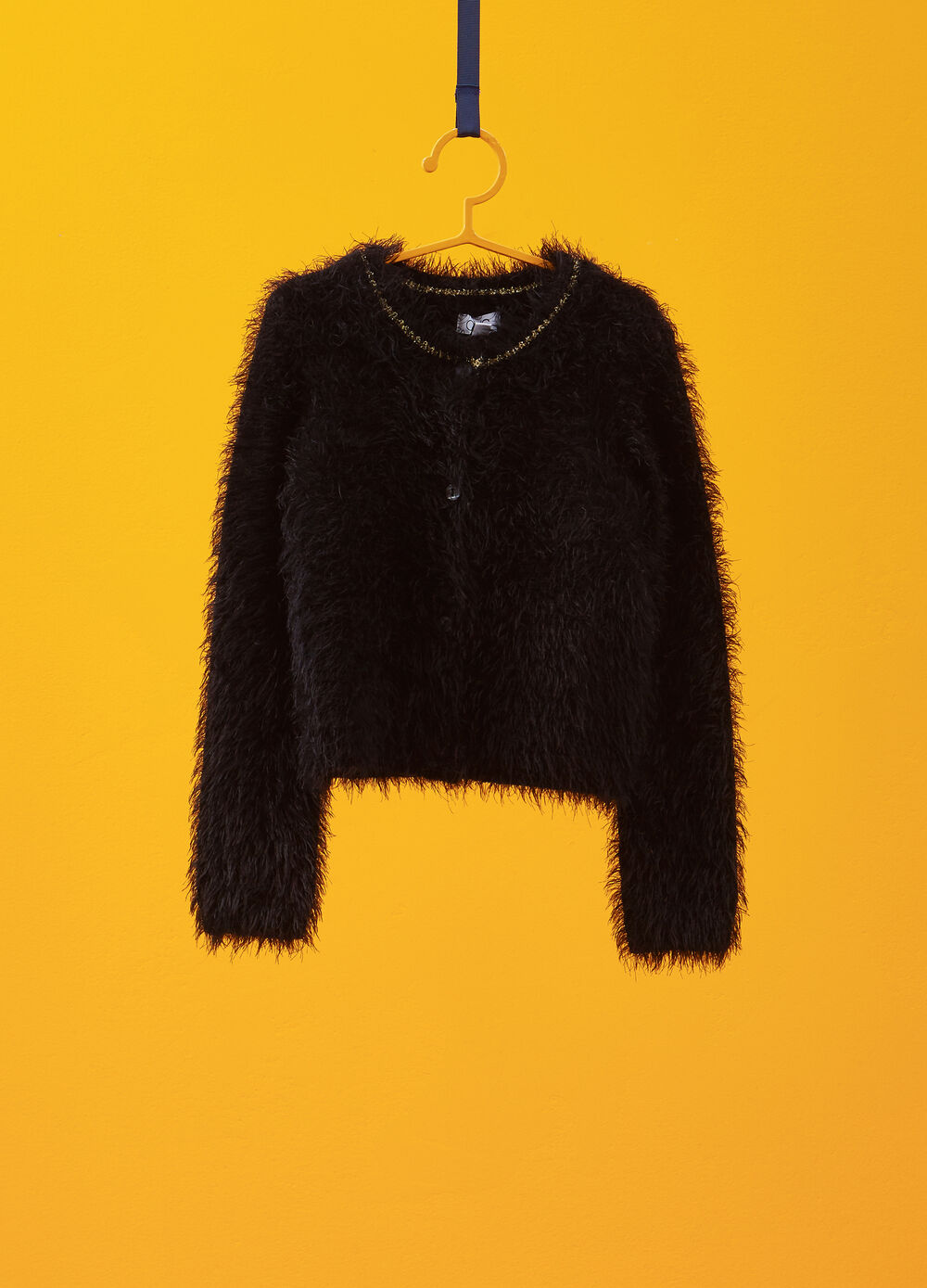 Frayed-effect cardigan with glitter