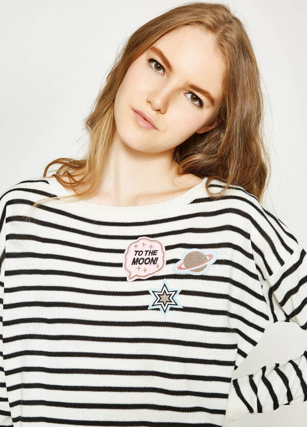 Striped pullover with patches