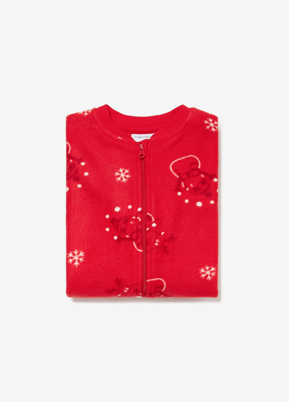 Solid colour onesie with reindeer print