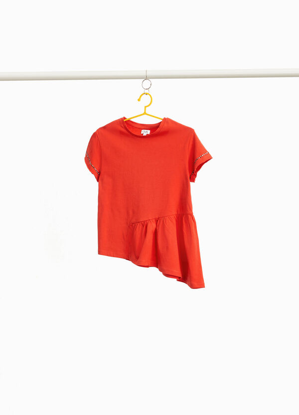 T-shirt with studs and asymmetric hem