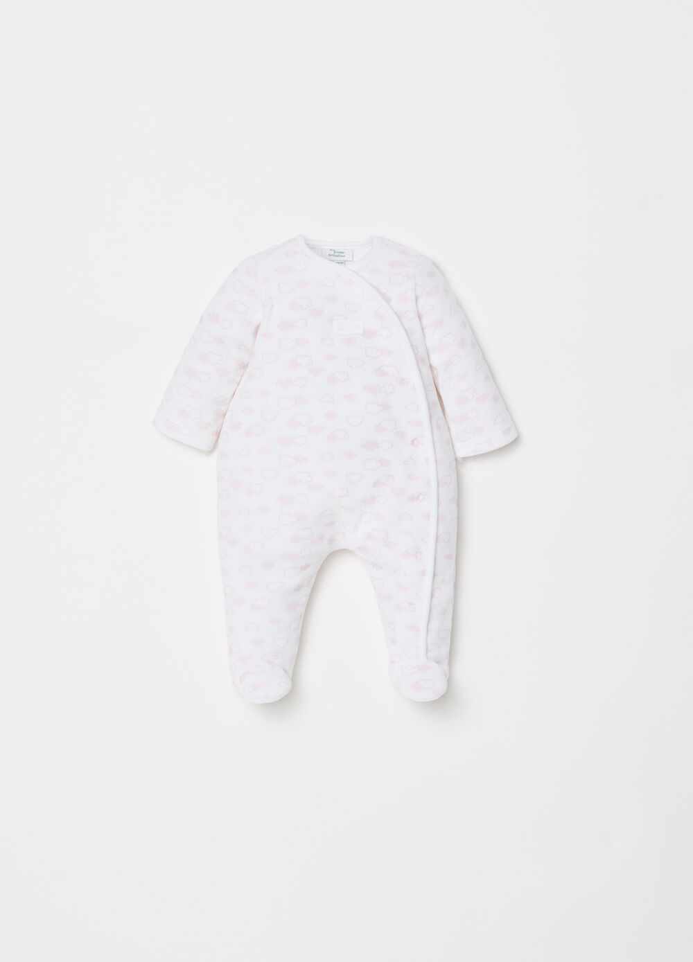 Onesie in chenille with clouds pattern