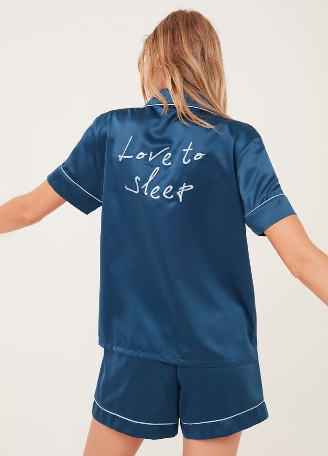 Pyjama top with lettering embroidery