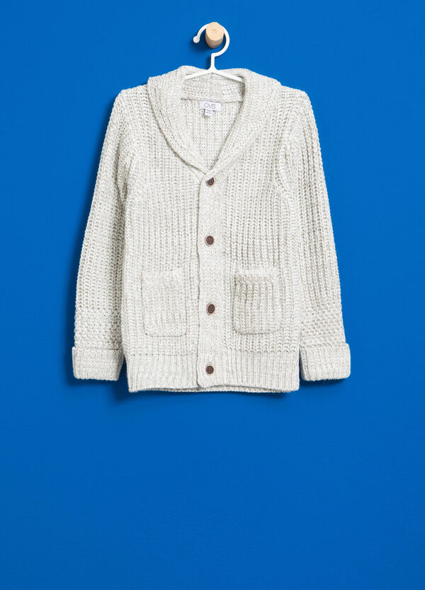 Knitted cardigan with striped weave