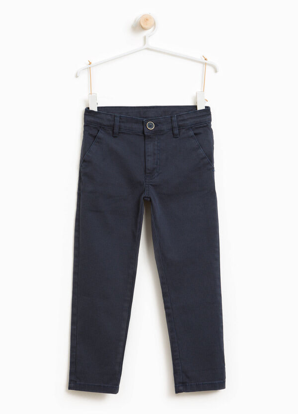 Stretch micro check chino trousers