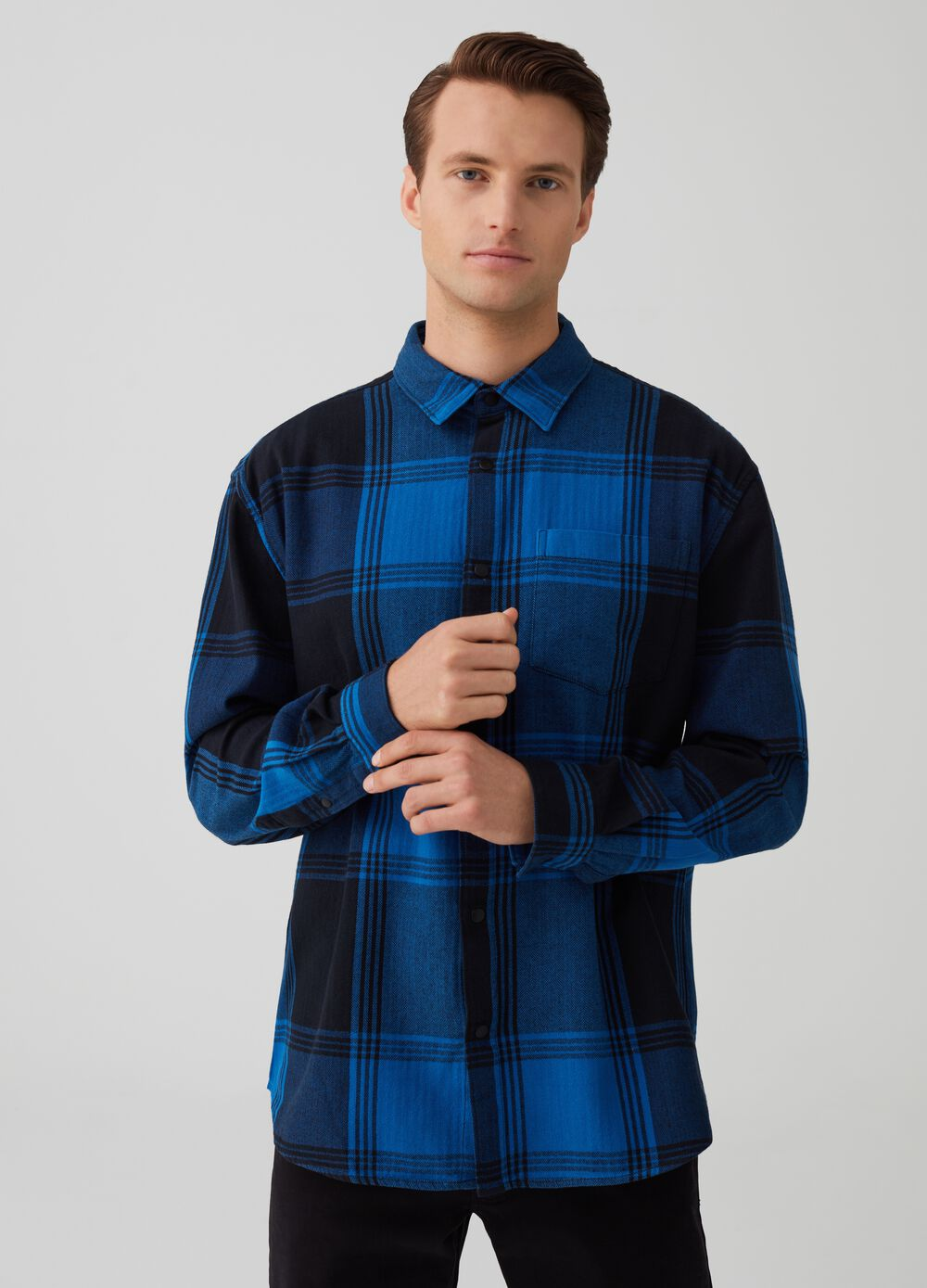 100% cotton check shirt jacket