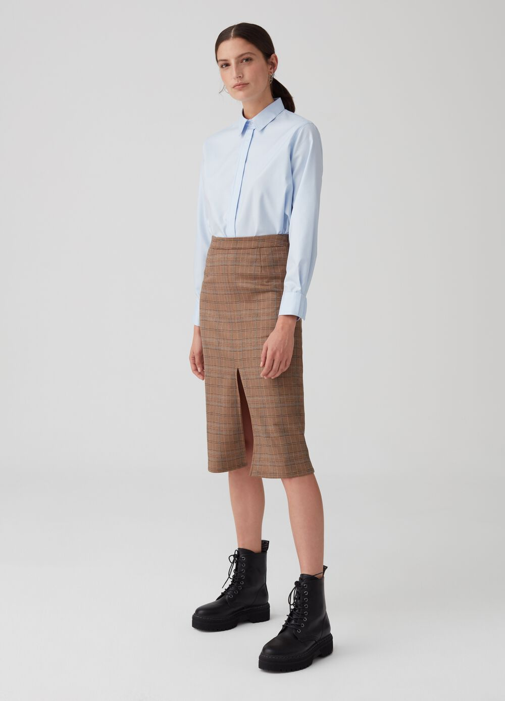 Suede-effect skirt with check pattern