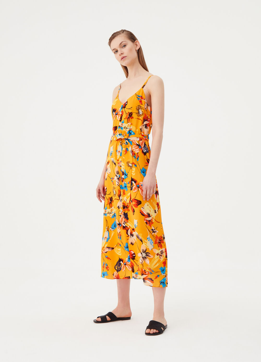 Long floral dress with knotted belt