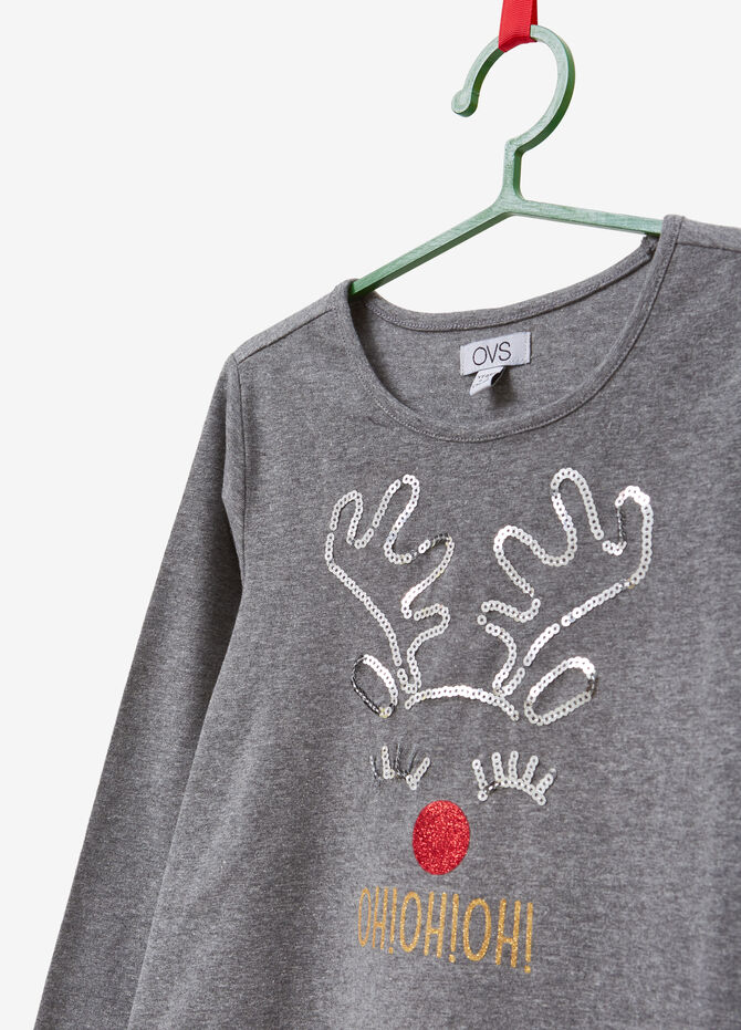 Cotton T-shirt with sequins and glitter print