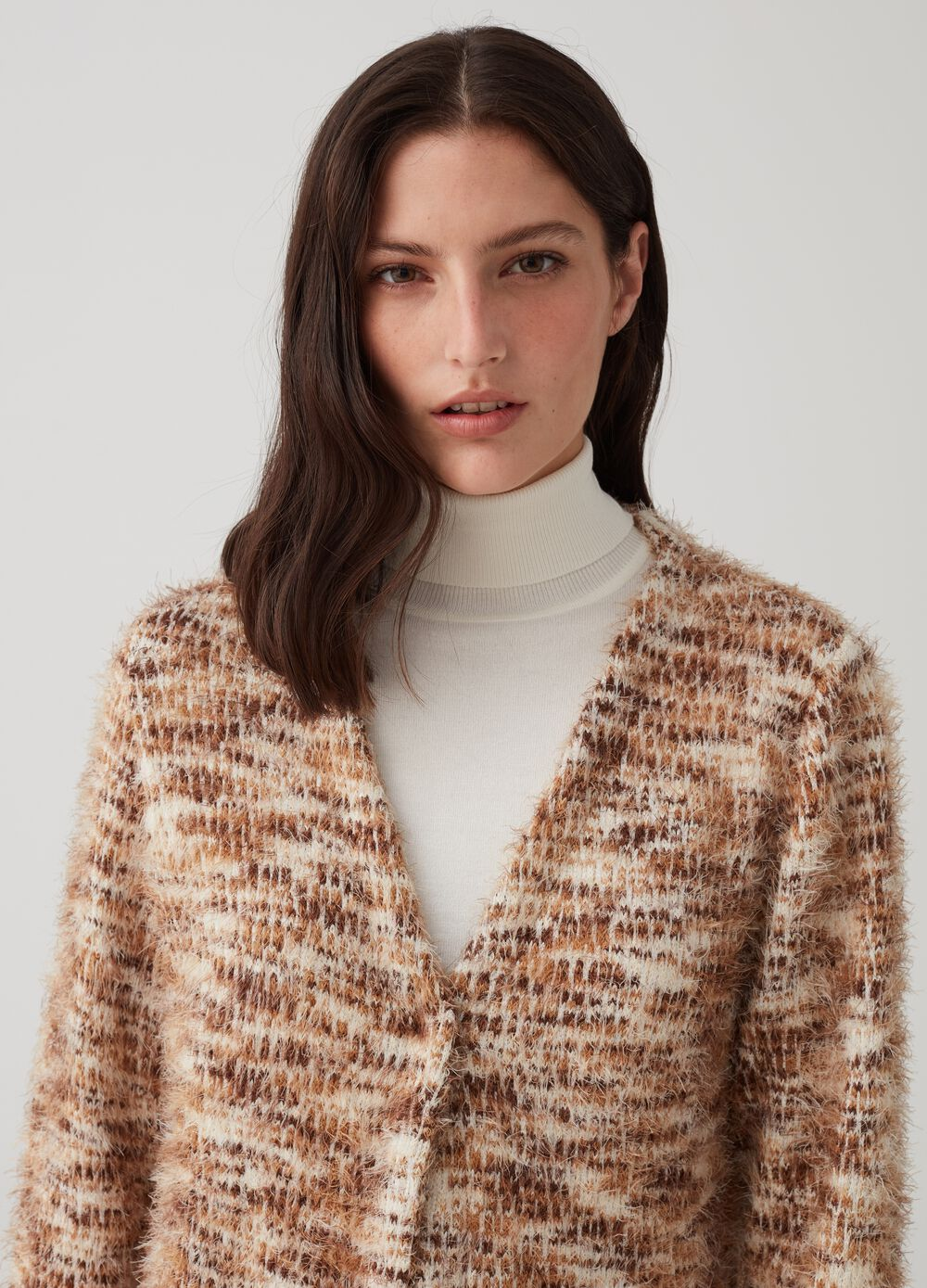 Cardigan with V-neck and pattern