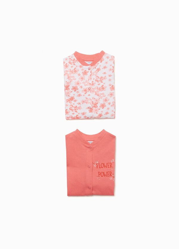 Two-pack floral and solid colour pyjama onesies
