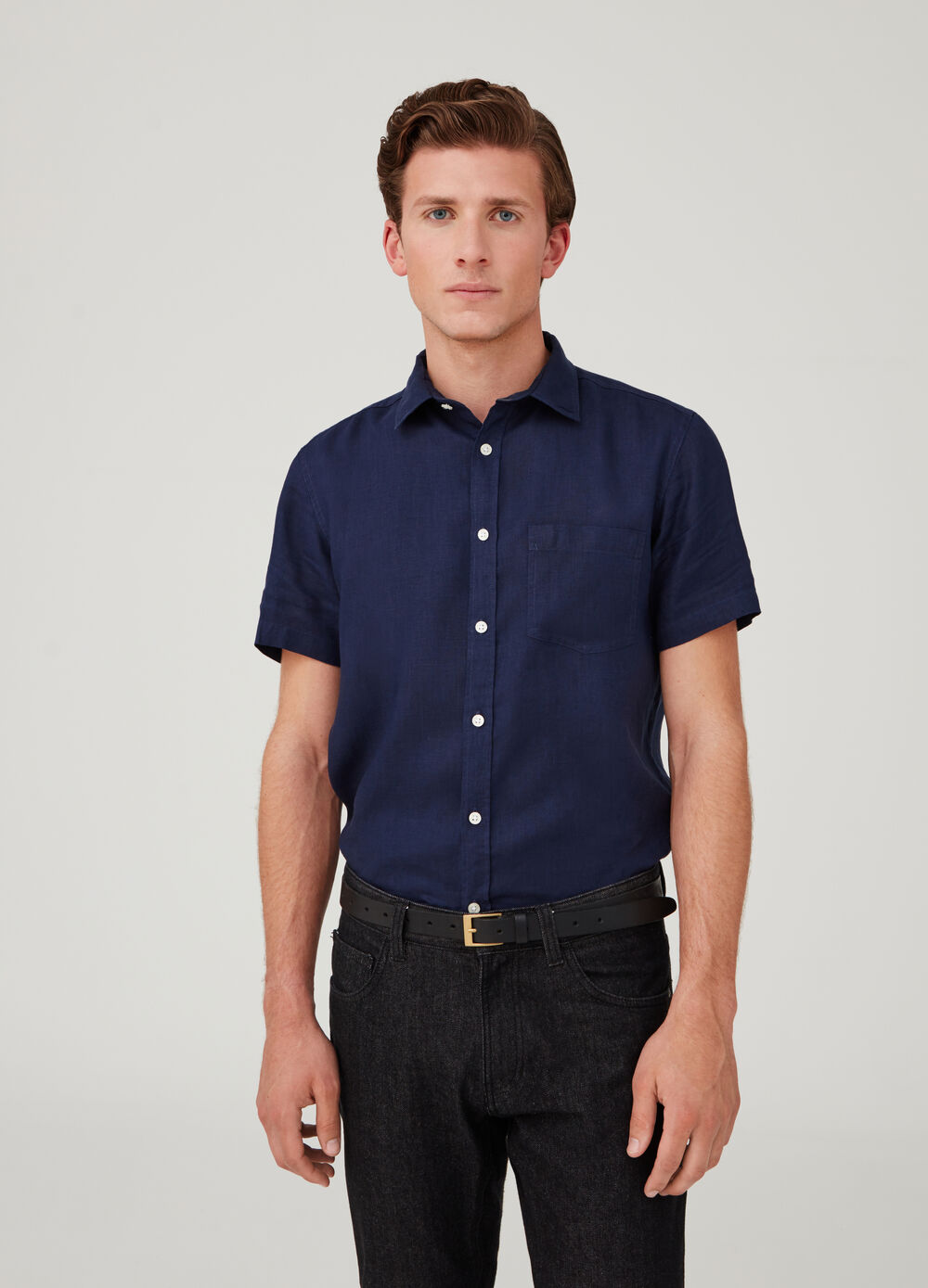 100% linen shirt with short sleeves