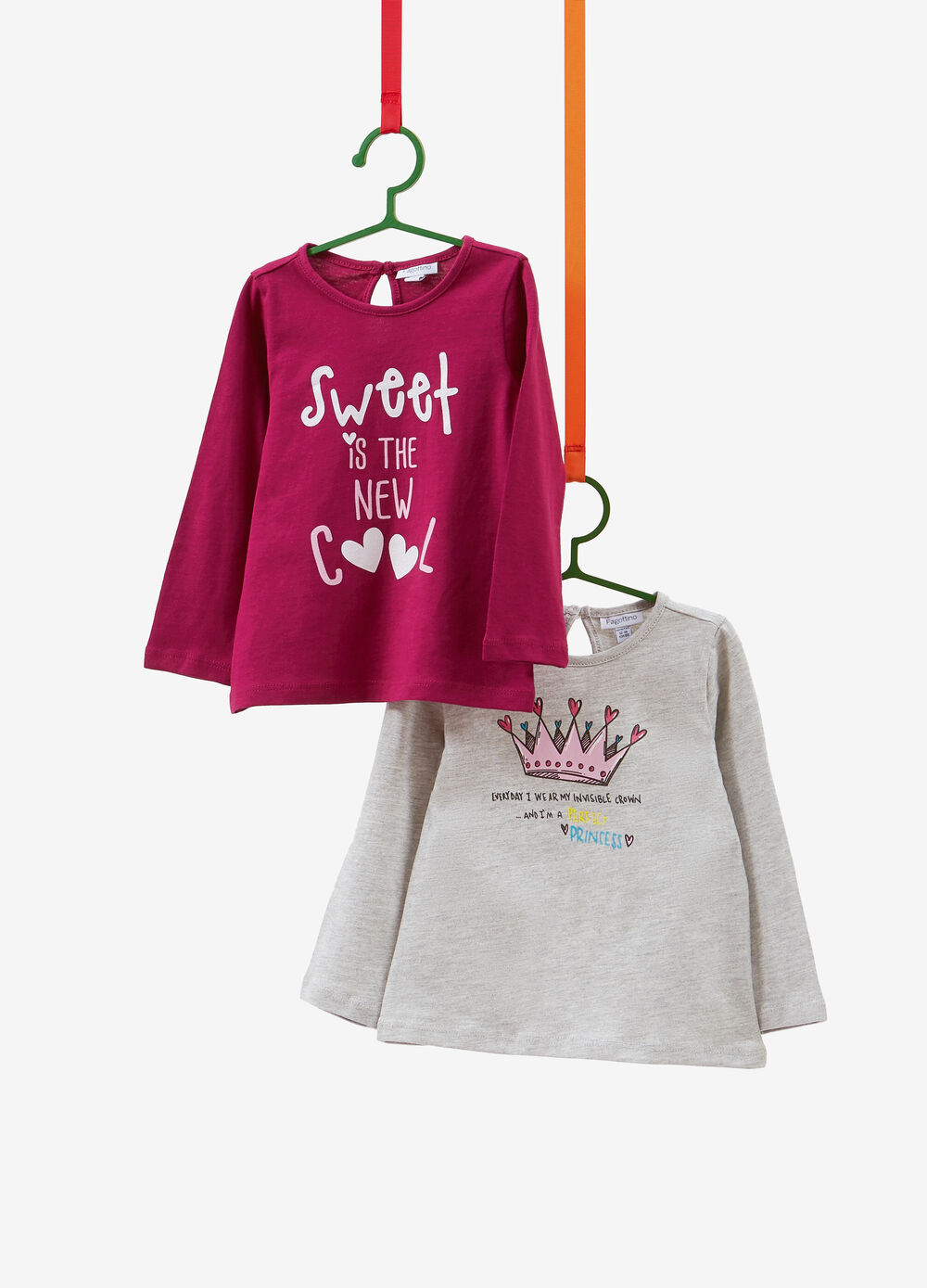Two-pack 100% cotton glitter print T-shirts