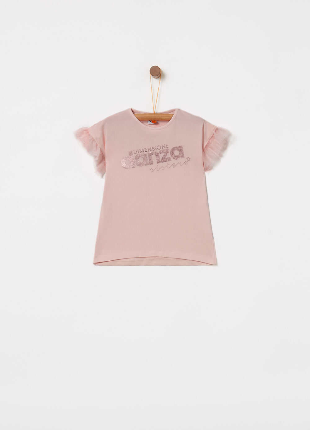 Stretch T-shirt with tulle and glitter print