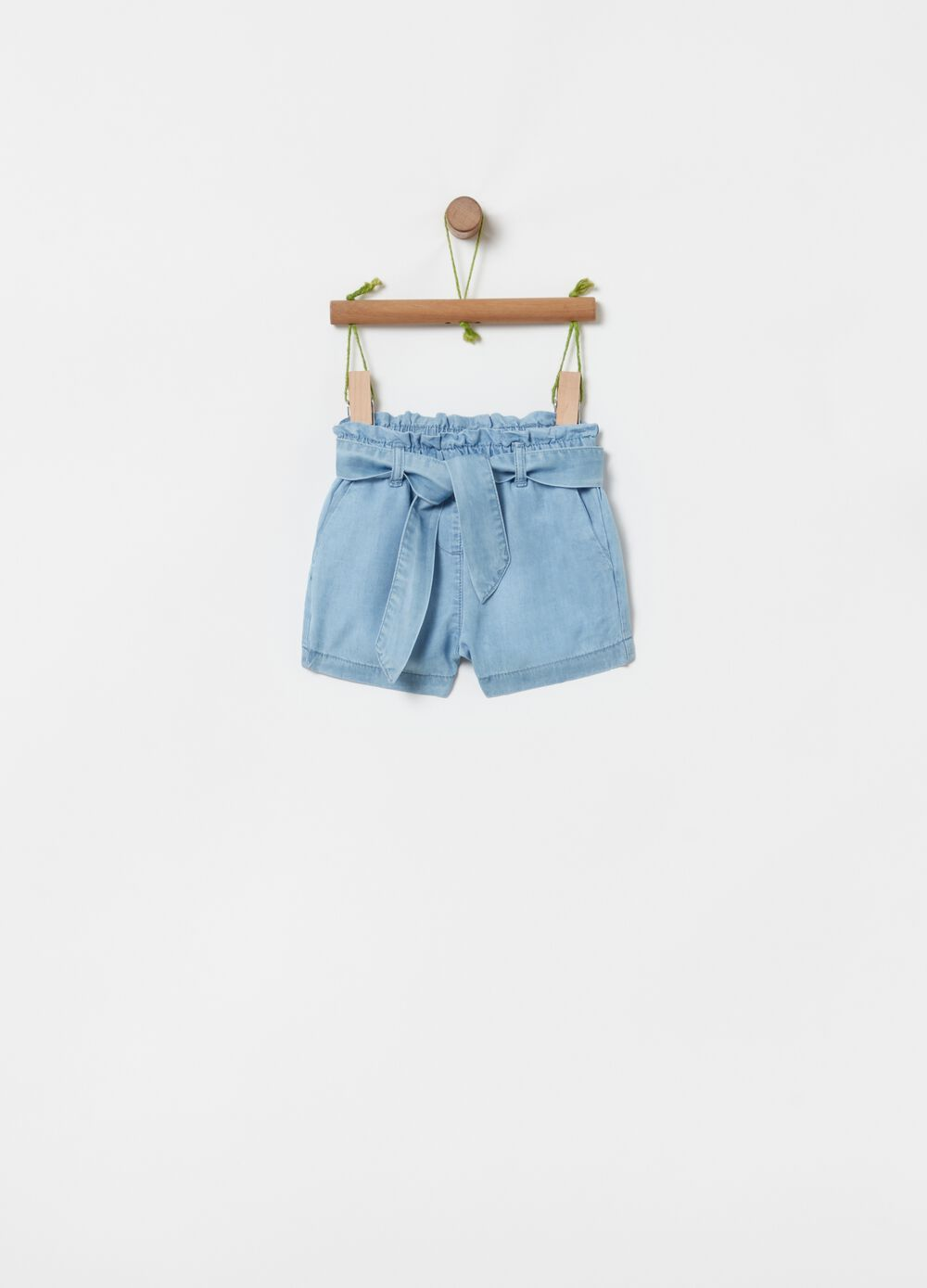 Denim-effect shorts in 100% Lyocell