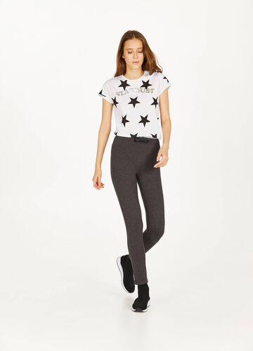 Stretch cotton leggings with bow