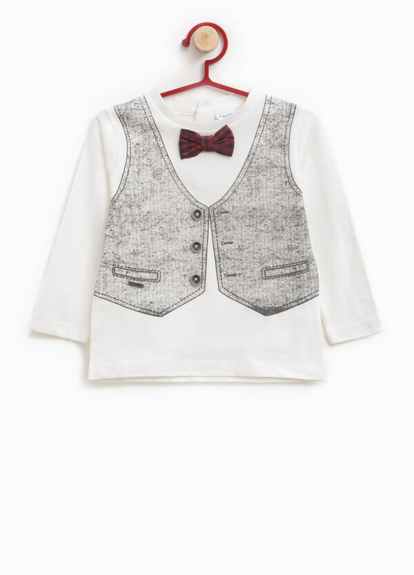Cotton T-shirt with printed waistcoat and buttons | OVS