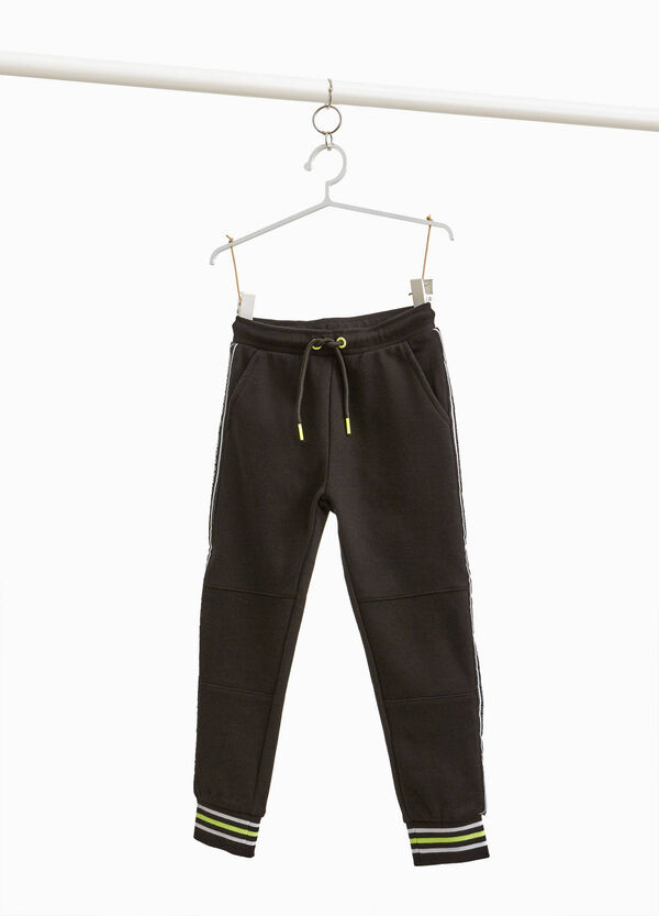 Trousers in cotton blend with drawstring