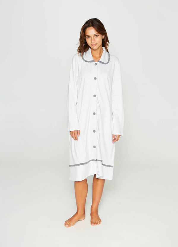 Cotton dressing gown with flounce | OVS