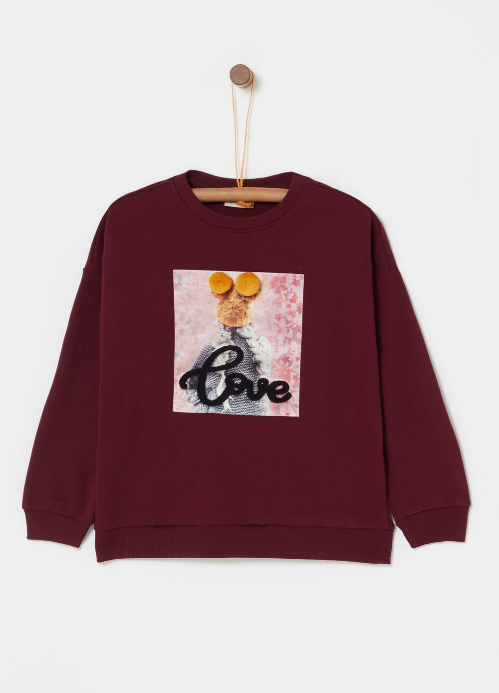 Sweatshirt in 100% cotton with print and pompoms