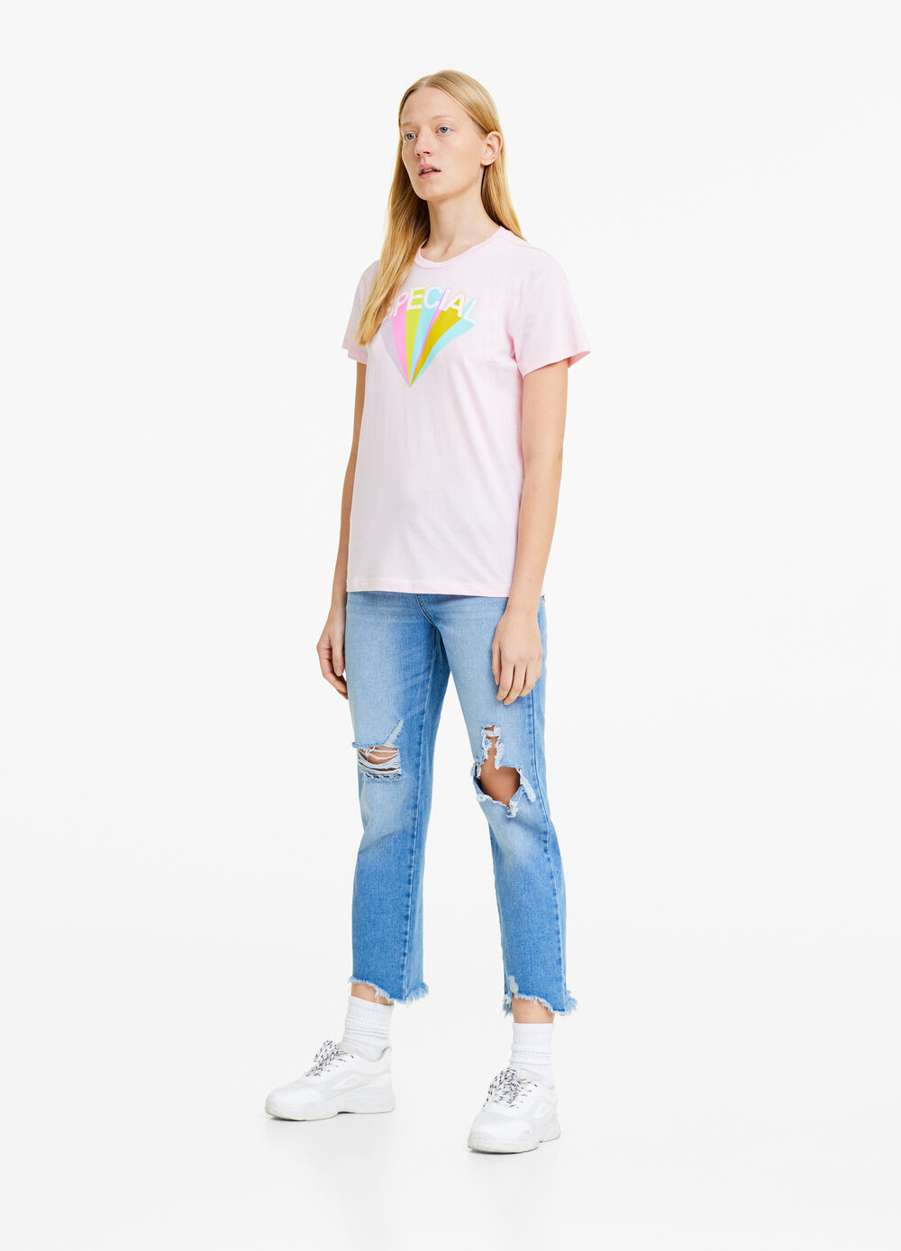 Cotton T-shirt with rainbow print