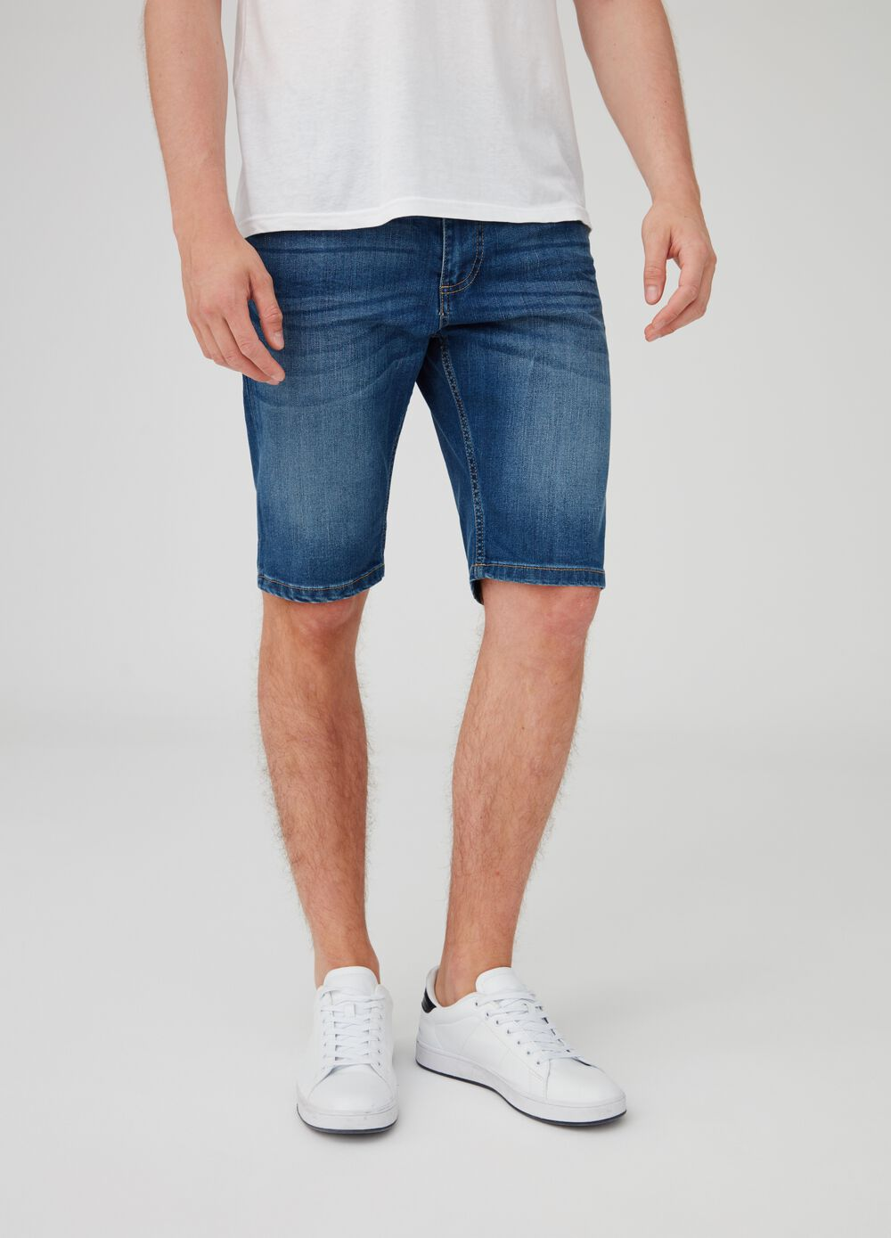 Slim-fit stretch denim shorts