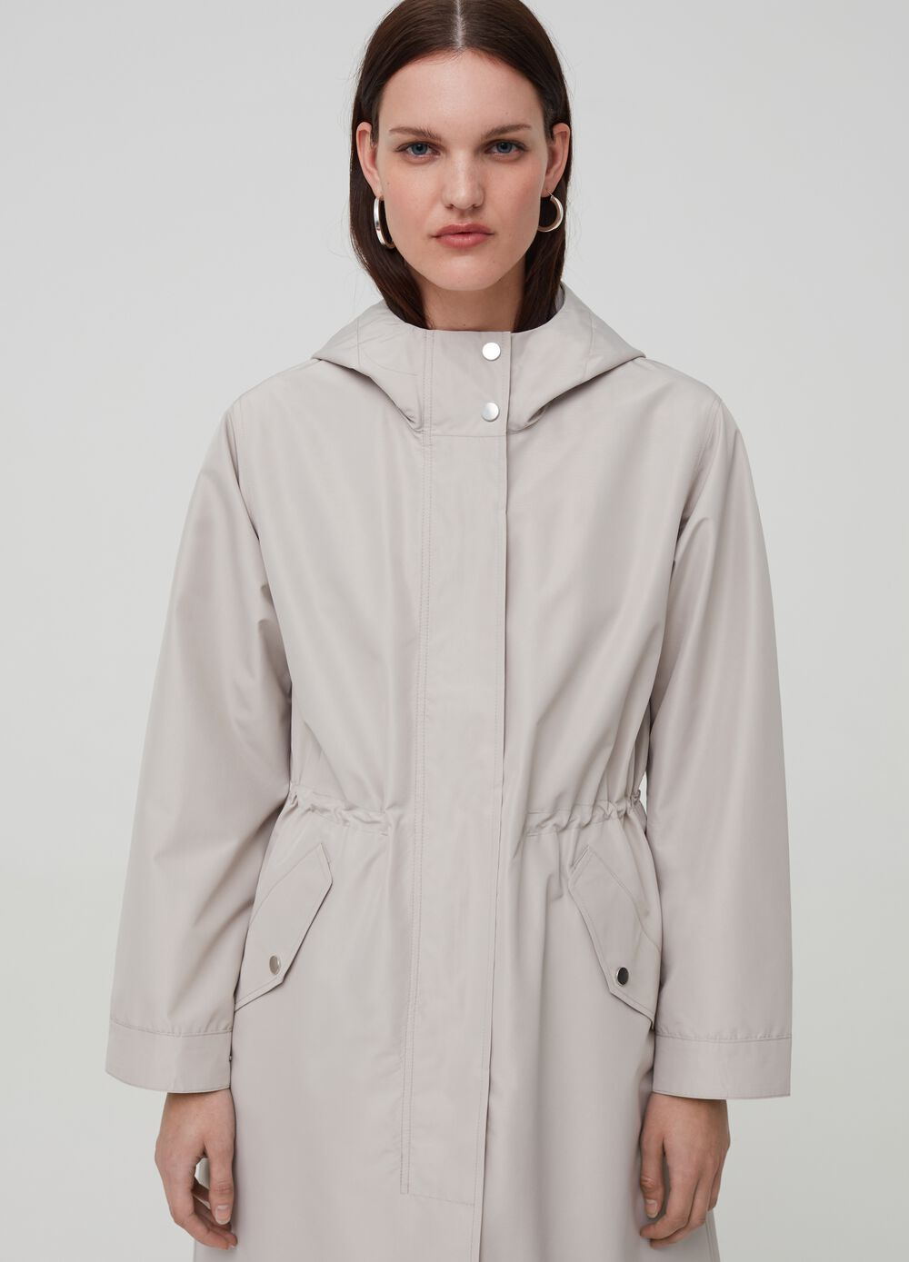 High-neck parka with hood