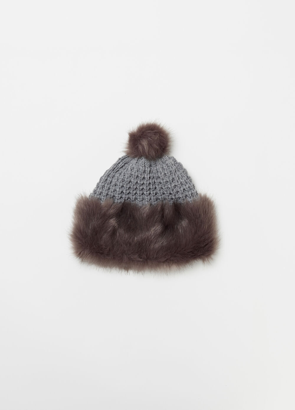 Knit hat with faux fur
