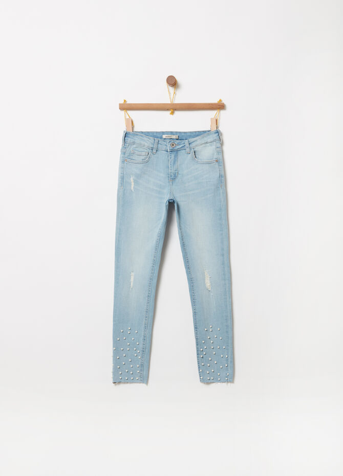 Jeans skinny fit stretch con perline
