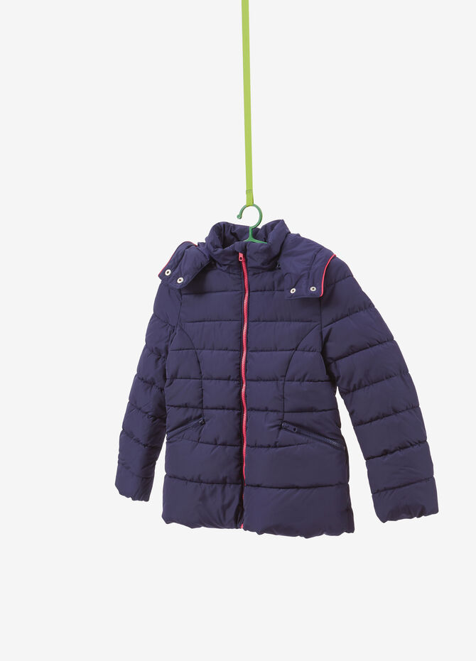 Quilted jacket with hood and zip